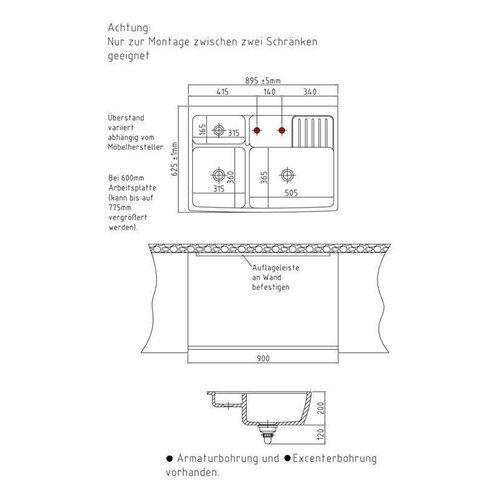 Spülmodul KeraDomo CENTRA 90 (für 60 cm Arbeitsplattentiefe) | {Arbeitsplatte tiefe 32}