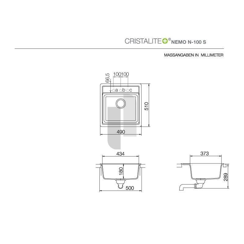 schock unterbausp le cristalite nemo n 100 s u. Black Bedroom Furniture Sets. Home Design Ideas