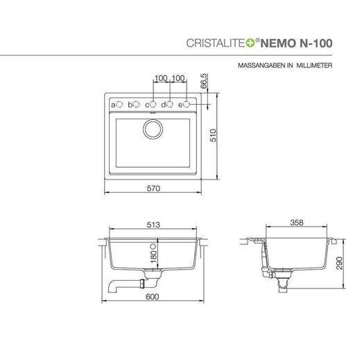 schock unterbausp le cristalite nemo n 100 u. Black Bedroom Furniture Sets. Home Design Ideas